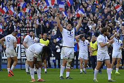 February 23, 2019 - Saint Denis, Seine Saint Denis, France - Joy of the France team after his victory during the Guinness Six Nations Rugby tournament between France and Scotland at the Stade de France - St Denis - France..France won 27-10 (Credit Image: © Pierre Stevenin/ZUMA Wire)