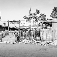 Dory Fish Market Newport Beach panorama photo in black and white. The Dory Fishing Fleet Market is a historical landmark where Dory fisherman bring in and sell the daily catch at the Dory Fish Market. Panoramic photo ratio is 1:3.