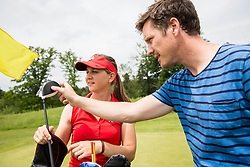 Journalist Jaka Lopatic and Katja Pogacar, Slovenian professional golfer during interview and practice session on May 23, 2018 in Diners Golf Course Smlednik Ljubljana, Slovenia. Photo by Vid Ponikvar / Sportida