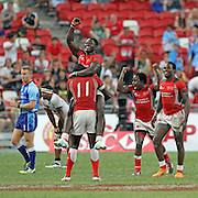 Kenya 7's Rugby team celebrate their 30-7 victory over Fiji for the inaugural HSBC 2016 Singapore 7's Championship Cup, day 2 finals, Singapore National Stadium, Singapore.  Photo by Barry Markowitz, 4/17/16