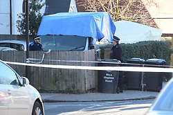 © Licensed to London News Pictures, 12/02/2018, London, UK . Police and Forensic officers at the scene of a stabbing in Hopton Road, Streatham on Sunday, Where a 19 year old was found with fatal stab wounds and pronounced dead at the scene. A 23 year old male is being questioned by police in connection with the murder Photo credit: Steve Poston/LNP