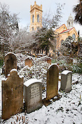 CHARLESTON, SC - February 13: Snow covers the historic cemetery of the Unitarian Church of Charleston February 13, 2010 during a rare snow storm in Charleston, SC. About 3-inches of snow fell on the Charleston area, the first significant snow in 20-years.    (Photo Richard Ellis/Getty Images)