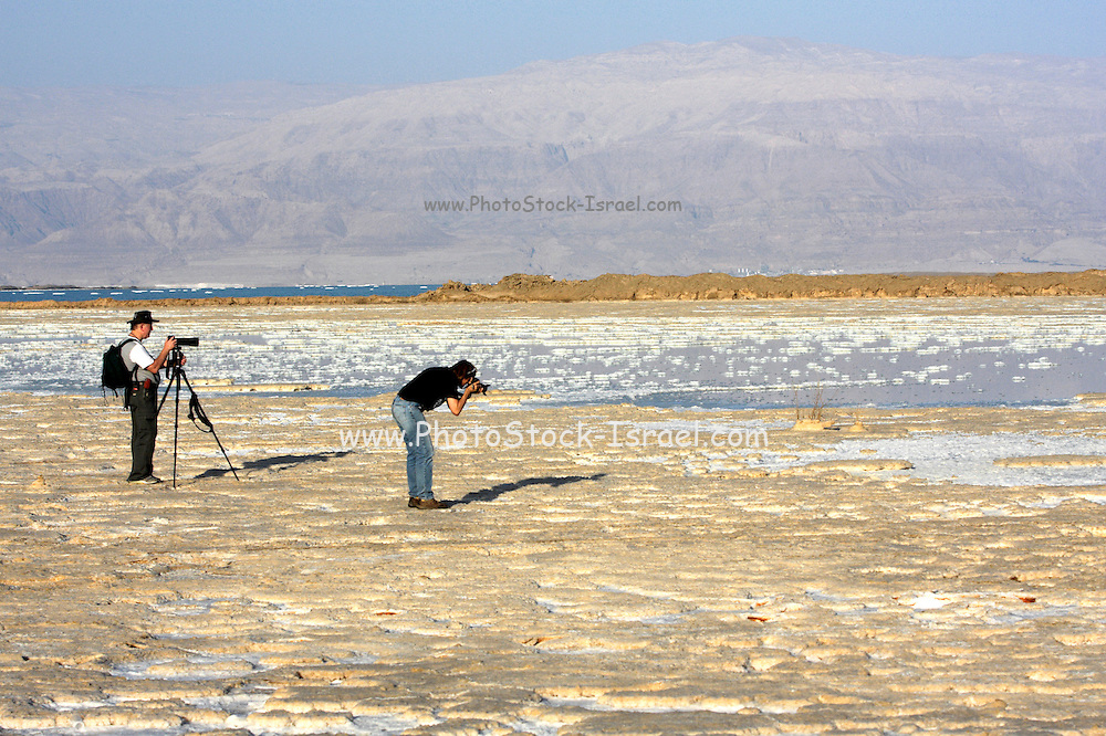 Israel, Photographers on the shores of the Dead Sea