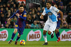 December 17, 2017 - Barcelona, Catalonia, Spain - Juanfran Moreno and Leo Messi during the La Liga match between FC Barcelona v Real Club Deportivo de La Coruna, in Barcelona, on December 17, 2017. (Credit Image: © Joan Valls/NurPhoto via ZUMA Press)