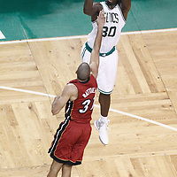 07 June 2012: Boston Celtics power forward Brandon Bass (30) takes a jumpshot over Miami Heat small forward Shane Battier (31) during first half of Game 6 of the Eastern Conference Finals playoff series, Heat at Celtics at the TD Banknorth Garden, Boston, Massachusetts, USA.