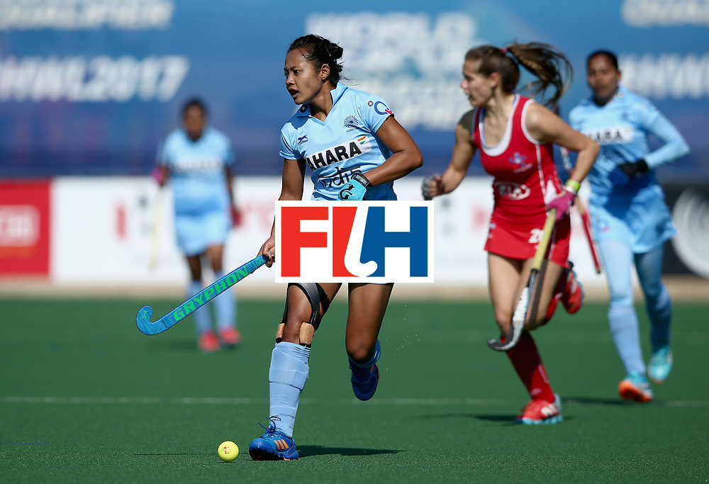 JOHANNESBURG, SOUTH AFRICA - JULY 12: Sushila Pukhrambam of India in action during day 3 of the FIH Hockey World League Semi Finals Pool B match between India and Chile at Wits University on July 12, 2017 in Johannesburg, South Africa. (Photo by Jan Kruger/Getty Images for FIH)