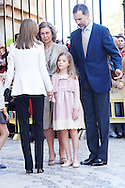 Queen Letizia of Spain, Queen Sofia of Spain, Princess Sofia and King Felipe VI of Spain attended the Easter Mass at the Cathedral of Palma de Mallorca on April 5, 2015 in Palma de Mallorca, Spain.