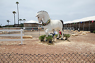 A horse statue near the garden exhibit.