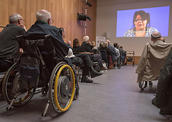 "A short film about the challenges faced by disabled people when trying to access public transport will screen as part of film showings at Edinburgh cinemas during Disabled Access Day this weekend (10-12 March). <br /> The short film has been launched by Edinburgh based charity get2gether, who work with almost 500 disabled adults in Edinburgh and the Lothians by organising social events and encouraging members to take initiative. <br /> The film, ""Buggy Off"", was created by get2gether Member and Ambassador Karen Sutherland with the support of Media Education and is based on one of Karen's many personal experiences. The film was launched at the Grassmarket Community Project in Edinburgh on Wednesday 8 March before screening ahead of films at the Cameo and Filmhouse over the weekend. Pictured: Attendees at the Grassmarket screening<br /> <br /> <br /> © Jon Davey/ EEm"