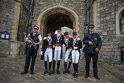 Team Netherlands Gold Medal<br /> Gal Edward, Schellekens Imke, Cornelissen Adelinde, Van Grunsven Anky at the doors of Windsor castle<br /> European Championship Dressage Windsor 2009<br /> © Hippo Foto - Dirk Caremans