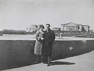 Marina and Lee Harvey Oswald on bridge in Minsk...Photograph: Warren Commission/ Dennis Brack Archives