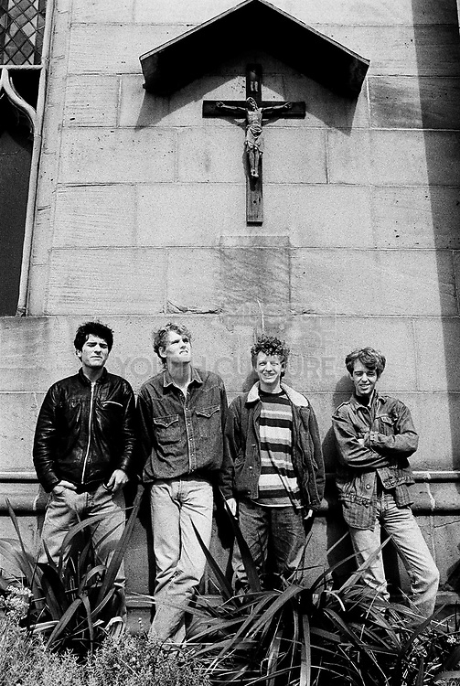 The LAs standing outside a church.