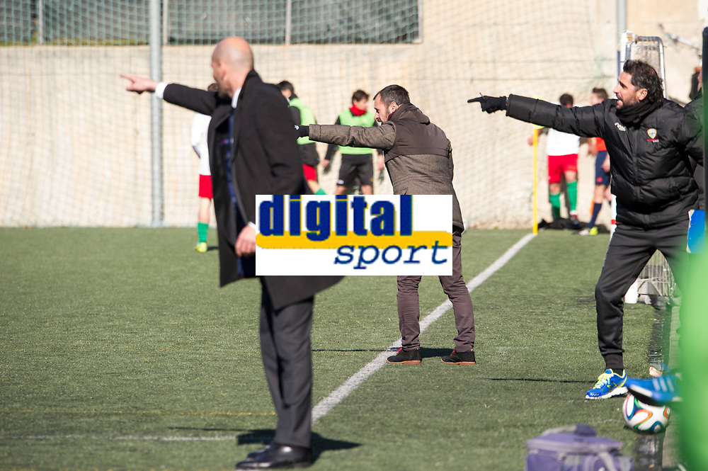 Trival Valderas's coach Marcos Jimenez and Real Madrid Castilla´s coach Zinedine Zidane during 2014-15 Spanish Second Division B match between Trival Valderas and Real Madrid Castilla at La Canaleja stadium in Alcorcon, Madrid, Spain. February 01, 2015. (ALTERPHOTOS/Luis Fernandez)