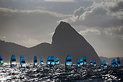 The fleet sails during an RS:X Mens class race in the Rio 2016 Olympic Games Sailing events in Rio de Janeiro, Brazil, 12 August 2016.