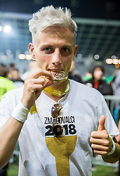 Stefan Savic of NK Olimpija posing with a medal after winning during football match between NK Aluminij and NK Olimpija Ljubljana in the Final of Slovenian Football Cup 2017/18, on May 30, 2018 in SRC Stozice, Ljubljana, Slovenia. Photo by Vid Ponikvar / Sportida