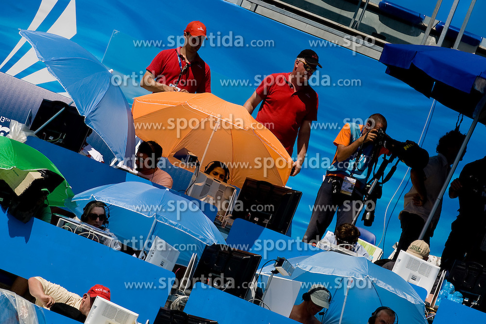 Press tribune during the 13th FINA World Championships Roma 2009, on July 26, 2009, at the Stadio del Nuoto,  in Foro Italico, Rome, Italy. (Photo by Vid Ponikvar / Sportida)