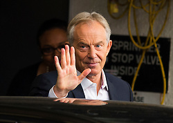 © Licensed to London News Pictures. 22/07/2015. London, UK. Former British prime minister TONY BLAIR leaving the Institute of Chartered Accountants in England and Wales via a back door after delivering a speech in Labour leadership to Progress think tank in which he attacked leadership candidate Jeremy Corbyn.  Photo credit: Ben Cawthra/LNP