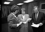 "Irish Laureate Women Of Europe Award. (T10)..1989..17.11.1989..11.17.1989..17th November 1989..Speculation regarding the Irish Laureate for the 1989 Women of Europe Award ended today when the Minister for Education, Ms Mary O'Rourke TD, announced that the Irish Laureate for this year is Grainne Kenny. Founder member of EURAD (Europe Against Drugs), and well known for her work as ""The drugs lady"" in Ireland, Grainne Kenny has been involved in the fight against drugs since 1980. She helped form CAD, Community Action and Drugs and later EURAD. EURAD is has the active co-operation of both the European Commission and Parliament...Image shows the Minister for Education, Mary O'Rourke (left) preparing for the presentation with members of the organising committee."