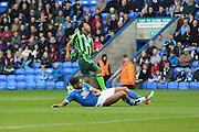 Peterborough United defender Michael Smith (2) tackles AFC Wimbledon striker Andy Barcham (17) during the EFL Sky Bet League 1 match between Peterborough United and AFC Wimbledon at ABAX Stadium, London Road, Peterborough, England on 22 October 2016. Photo by Stuart Butcher.