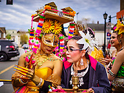 "29 APRIL 2017 - MINNEAPOLIS, MINNESOTA: Performers get ready to go on stage at the Songkran Uptown festival. Several thousand people attended Songkran Uptown on Hennepin Ave in Minneapolis for the city's first celebration of Songkran, the traditional Thai New Year. Events included a Thai parade, a performance of the Ramakien (the Thai version of the Indian Ramayana), a ""Ladyboy"" (drag queen) show, and Thai street food.     PHOTO BY JACK KURTZ"
