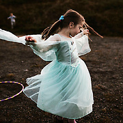 "Anna Karina Liutkute dances in a princess dress from the movie ""Frost"". It is activity night at Nordtun, the island's cultural center."