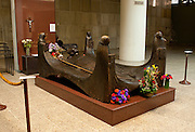 The tomb of Archbishop Oscar Romero of El Salvador at San Salvador's Metropolitan Cathedral. The Archbishop was slain at the alter of his Church of the Divine Providence by a right wing gunman in 1980. Óscar Arnulfo Romero y Galdámez was a bishop of the Catholic Church in El Salvador. He became the fourth Archbishop of San Salvador, succeeding Luis Chávez, and spoke out against poverty, social injustice, assassinations and torture. Romero was assassinated while offering Mass on March 24,1980. - To license this image, click on the shopping cart below -