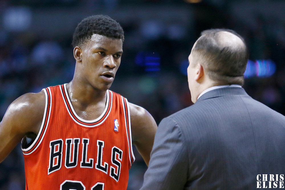 13 February 2013: Chicago Bulls small forward Jimmy Butler (21) listens to Chicago Bulls head coach Tom Thibodeau during the Boston Celtics 71-69 victory over the Chicago Bulls at the TD Garden, Boston, Massachusetts, USA.