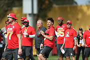 Jan 23, 2019; Kissimmee, FL, USA;  Kansas City Chiefs quarterback Patrick Mahomes (15) at the NFC team practice at the 2019 Pro Bowl at ESPN Wide World of Sports Complex. (Kim Hukari/Image of Sport)