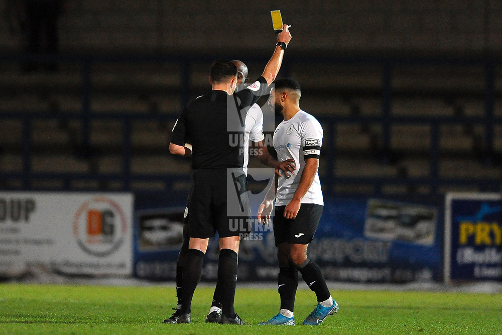 TELFORD COPYRIGHT MIKE SHERIDAN Ellis Deeney of Telford is booked during the Vanarama Conference North fixture between AFC Telford and Farsley at the New Bucks head Stadium on Saturday, December 7, 2019.<br /> <br /> Picture credit: Mike Sheridan/Ultrapress<br /> <br /> MS201920-033