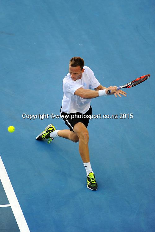New Zealand player Michael Venus his singles match at the Heineken Open. ASB Tennis Centre, Auckland, New Zealand. Tuesday 13 January 2015. Copyright photo: Chris Symes/www.photosport.co.nz