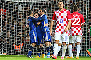 Lionel Messi of Argentina (2nd left) celebrates scoring his team's second goal against Croatia during the International Friendly match at the Boleyn Ground, London<br /> Picture by David Horn/Focus Images Ltd +44 7545 970036<br /> 12/11/2014