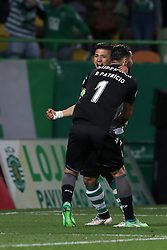 April 18, 2018 - Lisbon, Portugal - Sporting's goalkeeper Rui Patricio from Portugal (R ) celebrates the victory with Sporting's forward Fredy Montero from Colombia after the Portugal Cup semifinal second leg football match Sporting CP vs FC Porto at the Alvalade stadium in Lisbon on April 18, 2018. (Credit Image: © Pedro Fiuza/NurPhoto via ZUMA Press)
