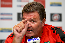 Nicosia, Cyprus - Friday, October 12, 2007: Wales' manager John Toshack during a press conference at the Hilton Hotel ahead of their UEFA Euro 2008 Qualifying match against Cyprus in Nicosia. (Photo by David Rawcliffe/Propaganda)