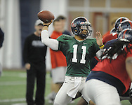 Ole Miss quarterback Barry Brunetti at Ole Miss football practice at the IPF in Oxford, Miss. on Wednesday, April 3, 2013.