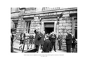 Se&aacute;n Lemass waves to supporters outside Leinster House following his re-election as Taoiseach.<br />