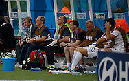 The England bench during the 2014 FIFA World Cup match at Arena da Amazonia, Manaus<br /> Picture by Andrew Tobin/Focus Images Ltd +44 7710 761829<br /> 14/06/2014