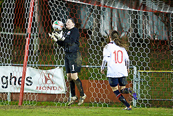 NEWTOWN, WALES - Friday, February 1, 2013: Wales' goalkeeper Alice Evans in action against Norway during the Women's Under-19 International Friendly match at Latham Park. (Pic by David Rawcliffe/Propaganda)