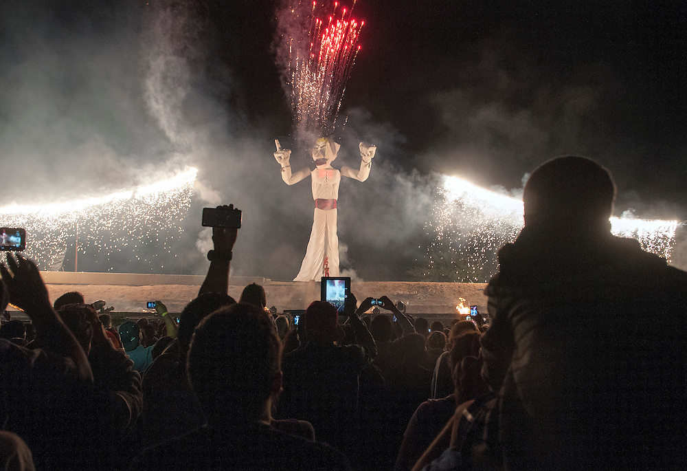 em082914d/a1/Thousands of people attended the 90th burning of Zozobra at Fort Marcy Park in Santa Fe, Friday August 29, 2014.  The annual event has been moved back to Friday night. (Eddie Moore/Albuquerque Journal)