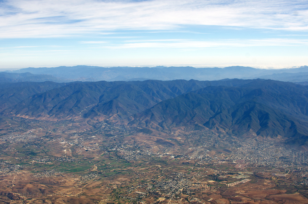Aerial view of small towns in the valley outside Oaxaca de Juarez, Mexico.