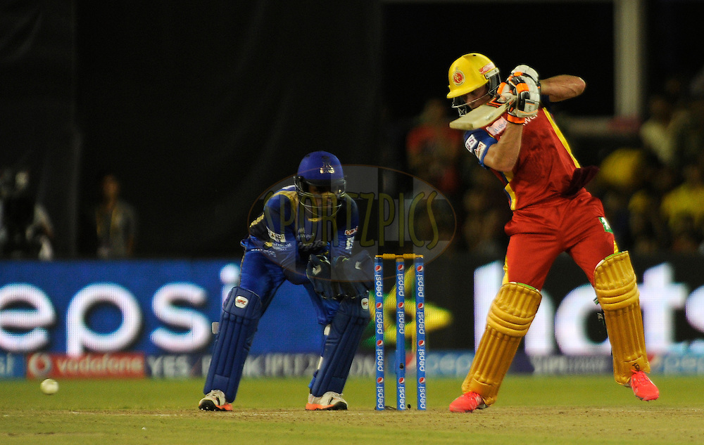 AB De Villiers of Royal Challengers Bangalore bats during match 22 of the Pepsi IPL 2015 (Indian Premier League) between The Rajasthan Royals and The Royal Challengers Bangalore held at the Sardar Patel Stadium in Ahmedabad , India on the 24th April 2015.<br /> <br /> Photo by:  Pal Pillai / SPORTZPICS / IPL