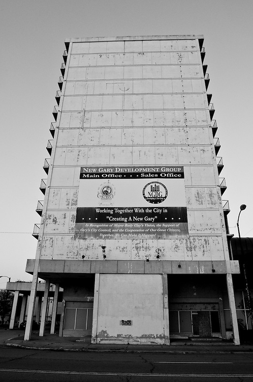 Pictured is the abandoned Sheraton Hotel in downtown Gary, Indiana. Gary's population peaked in the early 1960s at roughly 174,000 residents but has fallen to around 80,000 according to the latest U.S. Census in 2010. In addition to the collapsing infrastructure and deteriorating buildings, the number of abandoned houses is sharply increasing as people leave the city. (© William B. Plowman/Redux)