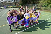 Picture by Allan McKenzie/SWpix.com - 26/03/2019 - Netball - Vitality Netball Worlde Cup Mascot Launch - St Albans High School Prep - Wheathampstead, St Albans, England - Netball World Cup Mascot Jude with Orla Burner, Jade Clark and the netball players at the St Albans High School Prep school.