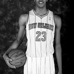 October 1, 2012; Westwego, LA, USA; (editors note image converted to black & white) New Orleans Hornets power forward Anthony Davis (23) poses for a portrait during Media Day at the Alario Center. Mandatory Credit: Derick E. Hingle-US PRESSWIRE