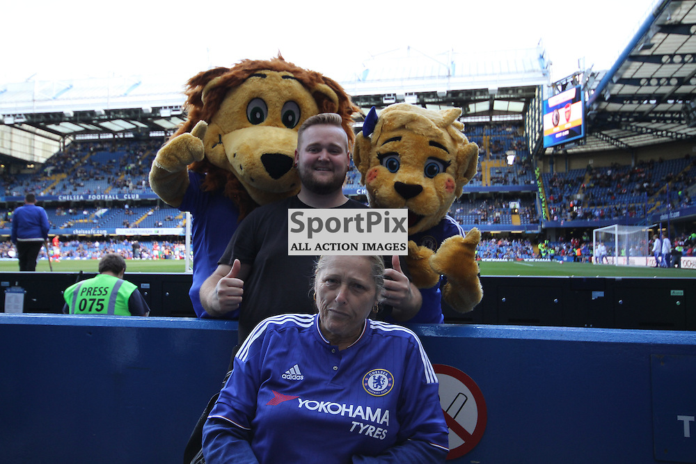 Chelsea fans with mascots Stamford and Bridget