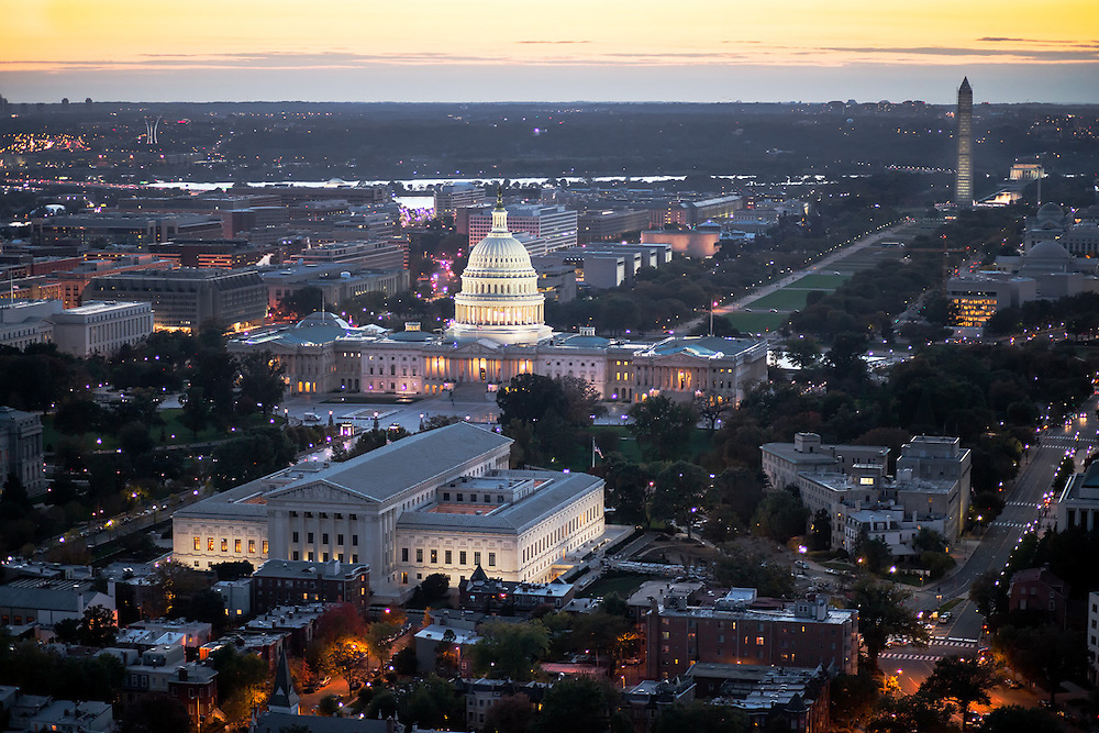 Capitol & National Mall, aerial evening view