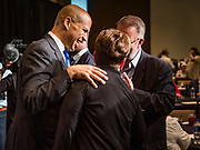 09 JUNE 2019 - CEDAR RAPIDS, IOWA: US Senator CORY BOOKER (D-NJ) talks to people at the Iowa Democrats 2019 Hall of Fame Celebration in the Cedar Rapids Convention Center. Nineteen of the Democratic candidates for president in 2020 spoke at the annual event. Iowa traditionally hosts the the first election event of the presidential election cycle. The Iowa Caucuses will be on Feb. 3, 2020.                          PHOTO BY JACK KURTZ