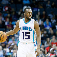 03 November 2015: Charlotte Hornets guard Kemba Walker (15) brings the ball up court during the Charlotte Hornets  130-105 victory over the Chicago Bulls, at the Time Warner Cable Arena, in Charlotte, North Carolina, USA.