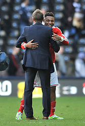Nottingham Forest's Britt Assombalonga celebrates the win with manager, Stuart Pearce - Photo mandatory by-line: Dougie Allward/JMP - Mobile: 07966 386802 - 17/01/2015 - SPORT - Football - Derby - iPro Stadium - Derby County v Nottingham Forest - Sky Bet Championship