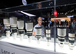 Display of Canon telephoto lenses at Photokina trade fair in Cologne, Germany , 2016