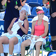 2016 U.S. Open - Day 11   Martina Hingis of Switzerland and Coco Vandeweghe of the United States during an end change in their match with Caroline Garcia of France and Kristina Mladenovic of France in the Women's Doubles Semifinal match on day eleven of the 2016 US Open Tennis Tournament at the USTA Billie Jean King National Tennis Center on September 8, 2016 in Flushing, Queens, New York City.  (Photo by Tim Clayton/Corbis via Getty Images)